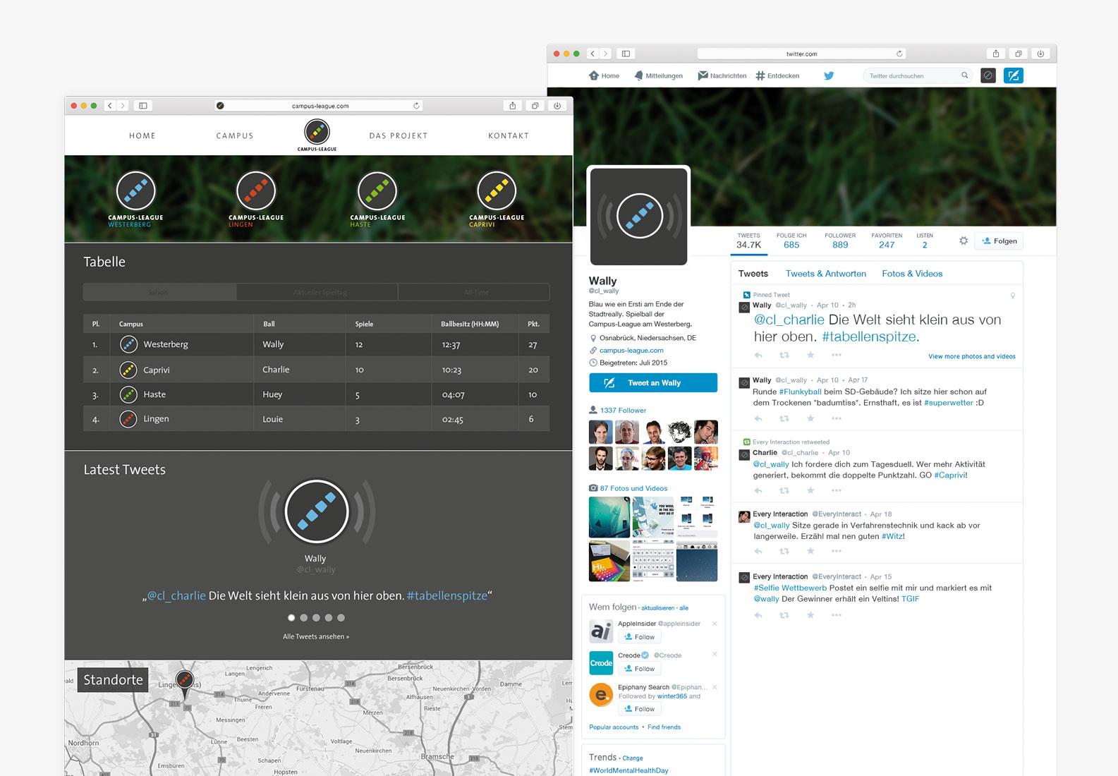 Website zur Liga sowie ein Twitter-Account eines Balls