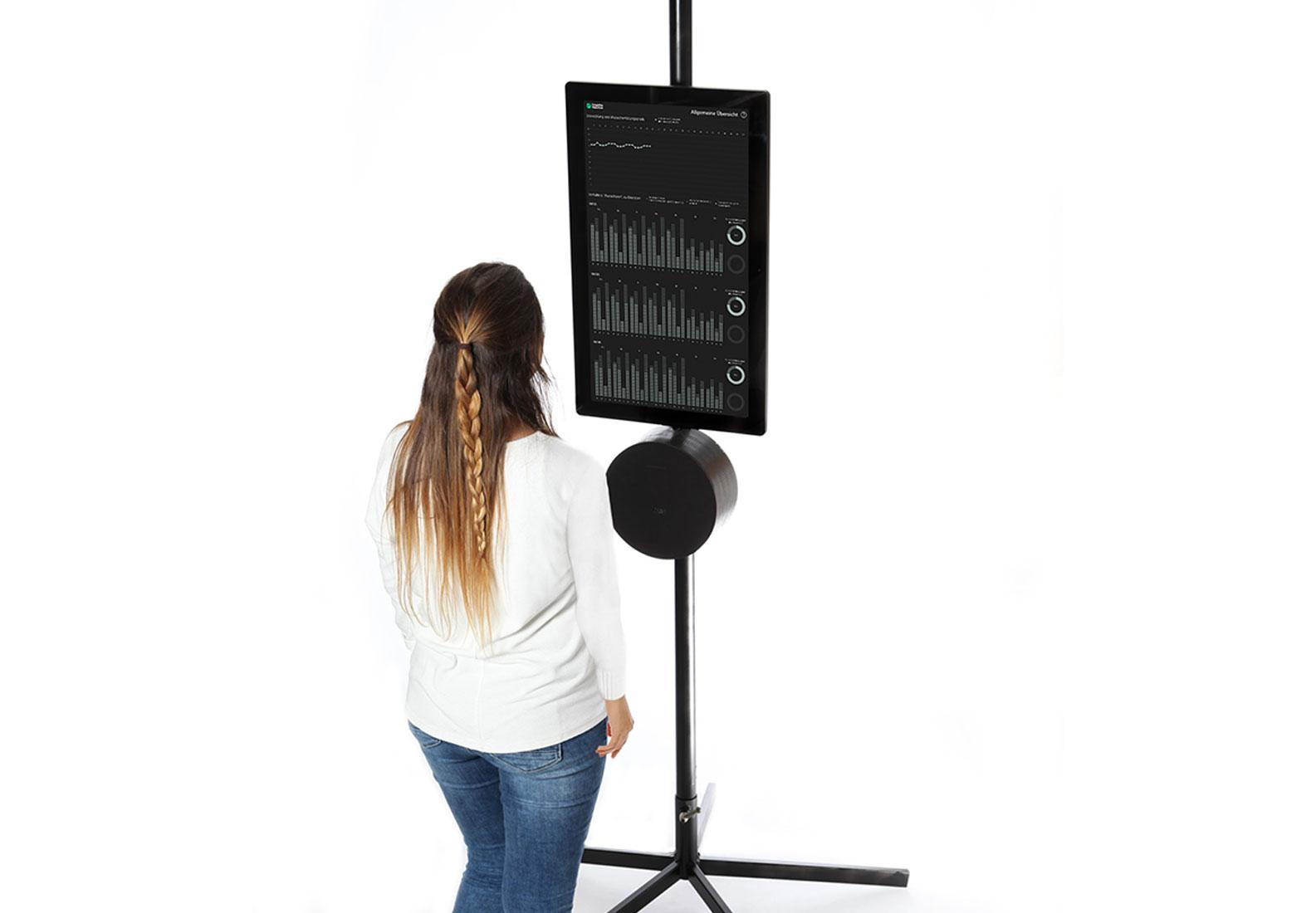 Wird ein Mitarbeiter vor dem Objekt erkannt, gelangt man in die allgemeine Ansicht der Datenvisualisierung.