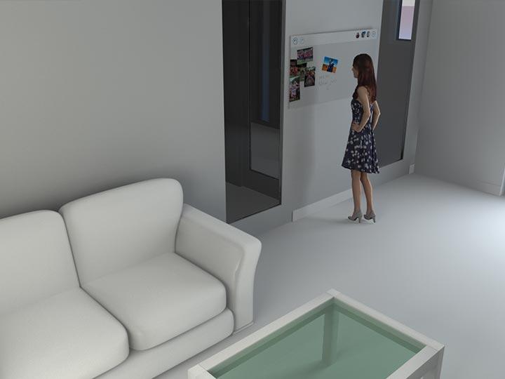 Rendering zur Visualisierung des voidboards im Wohnraum.